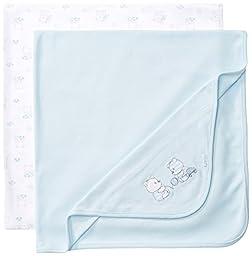 Little Me Baby-Boys Newborn Bears 2 Pack Receiving Blanket, White/Light Blue, One Size
