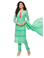 Isha Enterprise Women's Pure Chiffon Dress Material(KFD452-1867_Green)