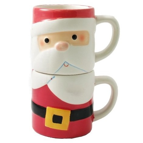 Stackable Santa Claus Double Coffee Mug Gift Set