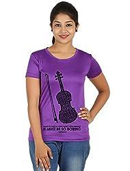 Fanideaz Silky Polyester Favourite Violin Tv Series Sherlock T Shirt for Women_Purple_XL