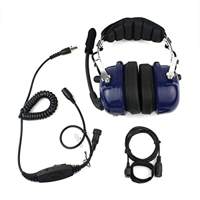Blue Color Military Professional Noise Cancelling Overhead Headset Earpiece Boom Microphone with PTT for 2-pin Motorola Radio CP040 CP200 XTNi DTR VL50