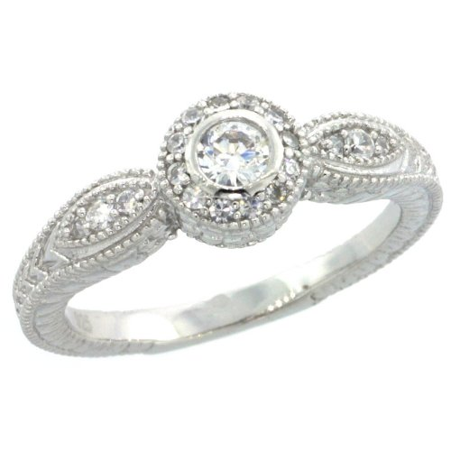 Sterling Silver Vintage Style Engagement Ring w/ Brilliant Cut CZ Stones, 1/4 in. (7mm) wide, size 9