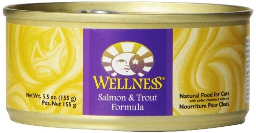 Wellness Canned Cat Food, Salmon And Trout Recipe, 24-Pack Of 5-1/2-Ounce Cans