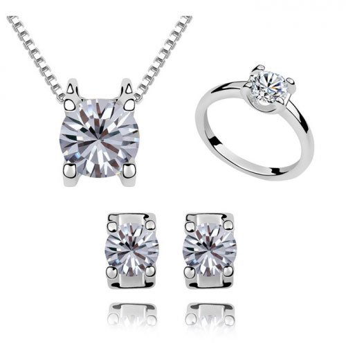 Fervent Love Boutique Fashion Jewelry Austrilian Crystal Round Cz White Sets For Women Girls
