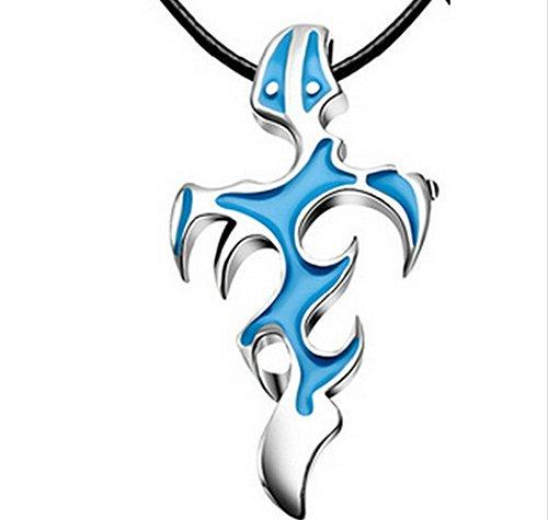 Buyinhouse Men's Boy's Retro Titanium Steel Flame Cross Pendant Necklace (Blue)