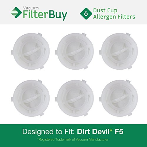 6 - Dirt Devil F5 Dust Cup Replacement Filters, Part # 3DEA950001. Designed by FilterBuy to fit Dirt Devil Scorpion Hand Vac Models 08200, 08201X, 08210, 08215X, 08220X, 08225X, 08226X, 0871, 0871X (Scorpion Hand Vac compare prices)