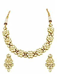 Vilandi Kundan Necklace Set In Floral Design
