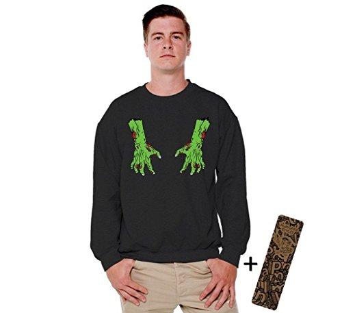 Awkwardstyles Halloween Crewneck Bloody Zombie Costume Sweatshirt + Bookmark S Black (Hocus Pocus Costume Shop)