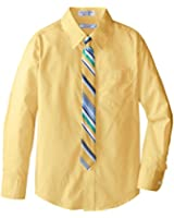 Izod Big Boys' Long Sleeve Solid Shirt and Tie Set