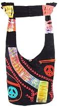 Shangri-La Nook Cotton crossbody Embroidery Peace Sign Gypsy Bag Handmade in Nepal Black