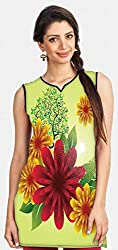 Snoogg Spring Flowers Printed Womens Casual Short Kurti