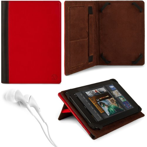 Black & Red Vg Faux Leather Standing Portfolio Case Cover For Asus Memo Pad Smart 10 Me301T / Asus Memo Pad Fhd 10 / Asus Vivotab Smart Me400 / Asus Vivotab Rt Tf600T / Asus Transformer Pad Infinity Tf700T / Tf300Tg / Tf300T 10.1 Inch Tablets + White Hand front-881037