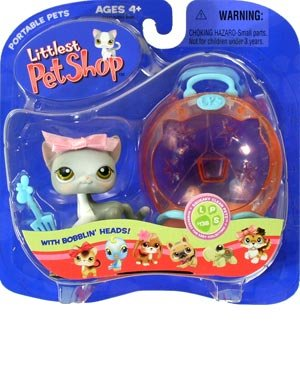 Buy Low Price Hasbro Littlest Pet Shop Pets On The Go Figure Cat with Pink Bow in Litterbox (B000HM8WUG)