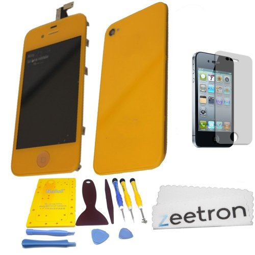 Zeetron© Orange Iphone 4 Colorswap Color Conversion Diy Kit (Includes A Glass Screen Lcd Aseembly + Home Button + Back Door Assembly + Full Tool Kit & Screw Mat + Screen Protector + Zeetron Microfiber Cloth) At&T Only (Do It Yourself Kit)