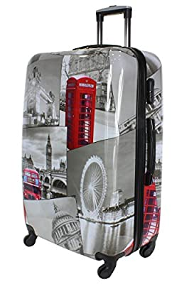 Lightweight 4 Wheel Hard Shell PC London Printed Luggage Set Suitcase Cabin Travel Bag by Rocklands London
