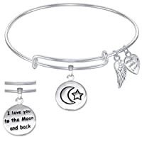 I Love You to the Moon and Back Expandable Wire Bangle Bracelet GIFT BOXED