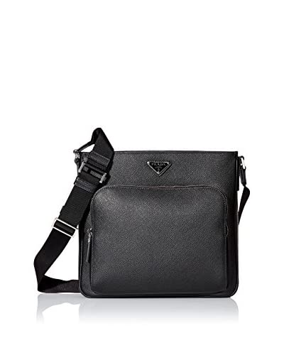 Prada Men's Saffiano Leather Messenger, Black