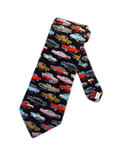 museum artifacts mens 1950s classic cars necktie black