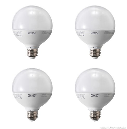 Ikea Ledare Led Bulb E26, Dimmable, Globe Opal-(4 Pack)