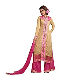 Amyra Women's Georgette Dress Material (AC837-07, Beige)