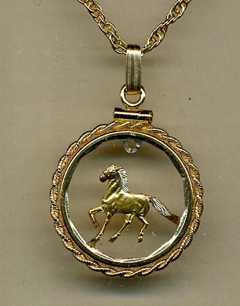 Stunning Uruguay Horse - GOLD & SILVER coin cut outs IN Gold Filled Bezels