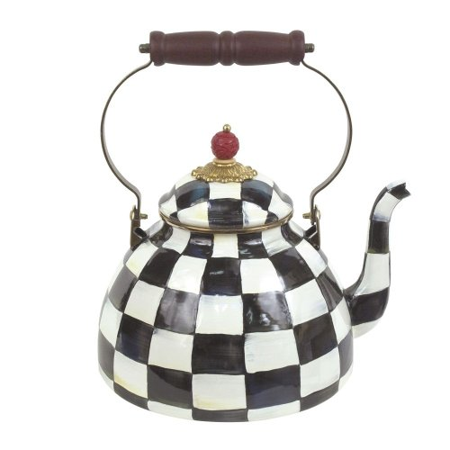 MacKenzie-Childs Courtly Check Enamel Tea Kettle 2 Quart