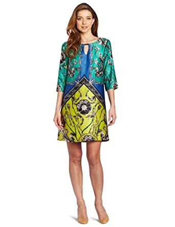 Gabby Skye Women's Printed Dress, Blue/Multi, 6 Missy