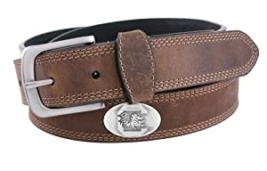 NCAA South Carolina Fighting Gamecocks Light Crazy Horse Leather Concho Belt by ZEP-PRO