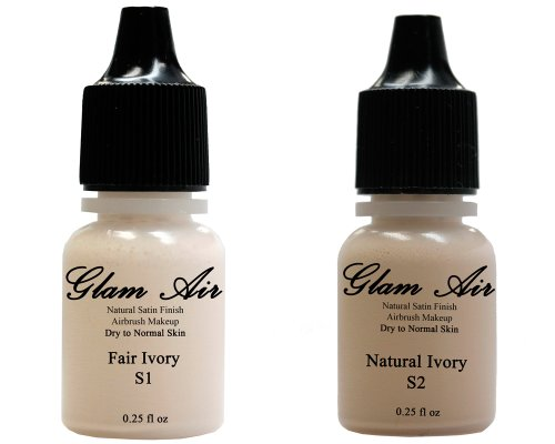 Two(2) Glam Air Airbrush Foundation Makeup S1 Fair Ivory & S2 Natural Ivory In Satin Finish 0.25Oz Bottles(Normal To Dry Skin)
