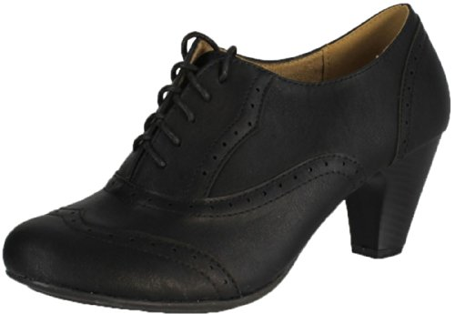 REFRESH AMANY-01 Women's Cuban heel Ankle booties Oxfords,Amany-01 Black 8