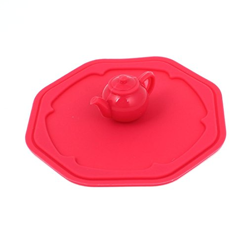 Silicone Kettle design Grip Détail ronde Coupe Airtight Couvercle Cover Rouge