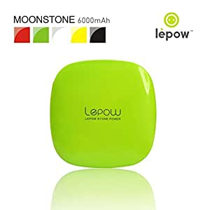 Lepow Moonstone External Battery Pack, Portable Battery Charger and Travel Charger 6000 mAh - Compatible with Apple iPhone 6 Plus, 6, 5, Apple iPad, Samsung S6, S5, and Other Devices (Apple Green)