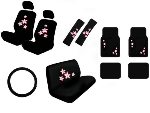 15 Piece Auto Interior Gift Set - Pink Flower - A Set Of 2 Seat Covers, 1 Rear Bench Cover, 1 Steering Wheel, A Set Of 2 Seat Belt Pads, And A Set Of 4 Plush Carpet Floor Mats