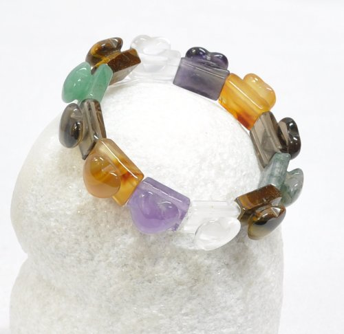 Colored stone large heart bracelet