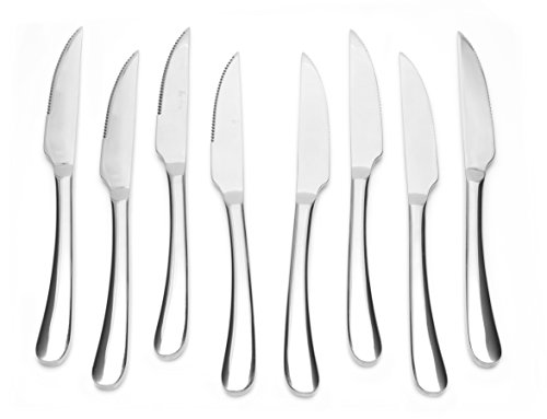 Bruntmor, Gourmet Stainless Steel 8-piece Steak Knife set with Full Tang Blades, Wooden Gift Box