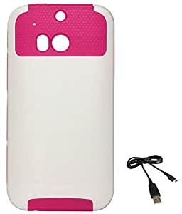 DMG Dual Layer Hard Back Cover with Soft Skin for HTC One M8 (White-Pink) + Data Cable