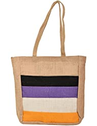 Saran Jute Bags Women's Multi Color Jute Handbag (SJB_18)