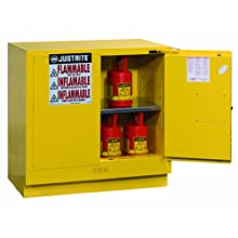"Justrite Sure-Grip EX 892320 Safety Cabinet for Flammable Liquids, 2 Door, Undercounter Cabinet, Self-Close, 22 gallon, 35""Height, 35""Width, 22""Depth, Steel, Yellow"