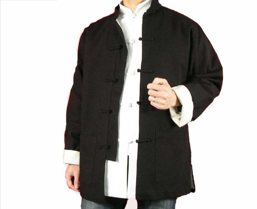 Fine Linen Black Kung Fu Martial Arts Tai Chi Jacket Coat XS - FREE SHIPPING