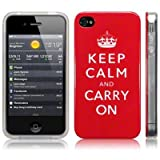 "Iphone 4S / Iphone 4 ""Keep Calm And Carry On"" Image TPU Gel Skin / Case / Cover - Red/Whiteby CallCandy"
