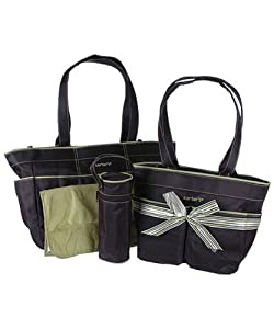 Carters 5 Piece Diaper Bag Set - Black & Sage