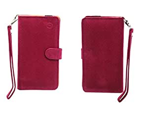 Jo Jo A9 Anya Leather Carry Case Cover Pouch Wallet Case For Micromax Canvas Spark 2 Exotic Pink