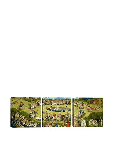 Hieronymus Bosch Top Of Central Panel From The Garden Of Earthly Delights (Panoramic) 3-Piece Canvas Print