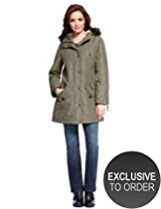 Petite Hooded Faux Fur Trim Padded Parka with Stormwear™ & Thinsulate™