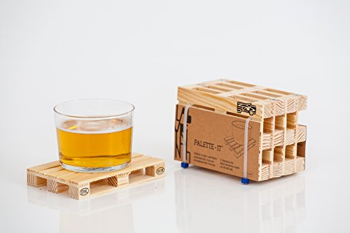 Design Studio Labyrinth Barcelona Mini Euro Pallet - 4 Miniature Pallet Wood Beverage Drink Coasters. Wine Coasters For Wine Glasses and Bottles, Whiskey, Beer Cocktail Glasses Coasters. Suitable For Bar, Home and Office. (Cool Drink Coasters compare prices)