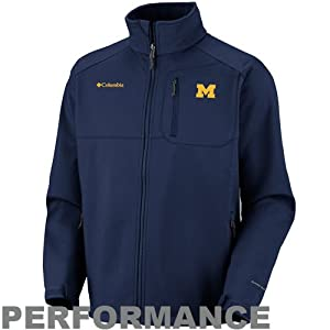 NCAA Columbia Michigan Wolverines Ascender II Softshell Performance Jacket - Navy... by Columbia