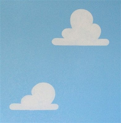 "Cloud Stencils used in Toy Story Room - Set of Two - One Large Cloud Stencil (17 1/2"" x 11 1/2"") and One Smaller Cloud Stencil (14 1/2"" x 9"") - made of durable clear plastic sheeting - for use as a wall stencil or on any flat surface"