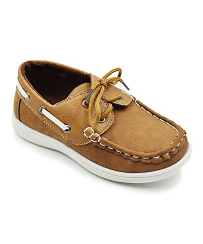 CoXist Boy's Suede PU Boat Shoe (Big Kid/Little Kid/Toddler) in Camel Size: 8 Toddler
