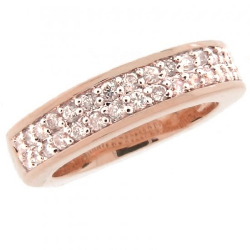 Sterling Silver 925 Clear CZ Rose Gold Plated Wedding Band Ring