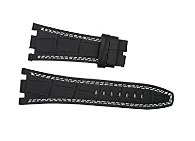 New Black Leather White Stich Watch Band Strap Fit Ap Audemars Piguet